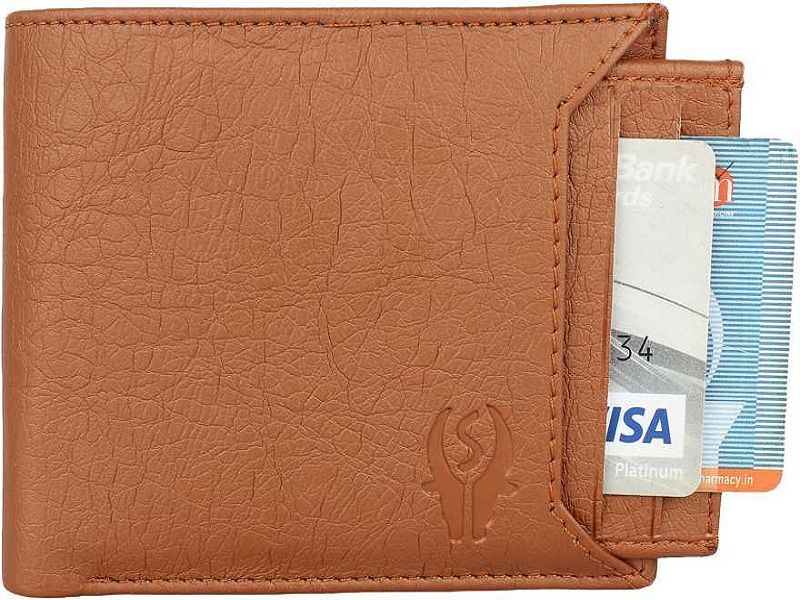 Men Tan Artificial Leather Money Clip  (6 Card Slots)