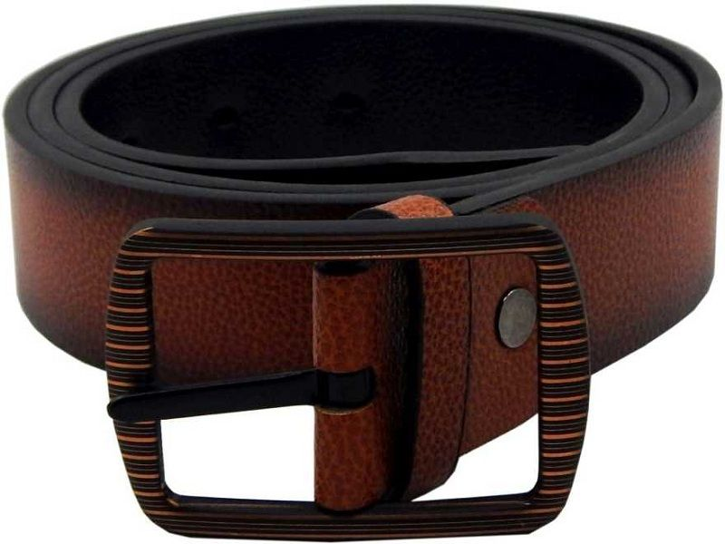 Men Formal, Casual Tan, Black Artificial Leather, Texas Leatherite Reversible Belt