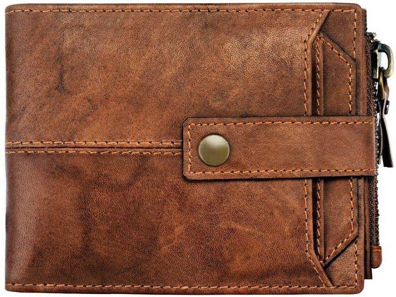Men Brown Genuine Leather Wallet  (14 Card Slots)