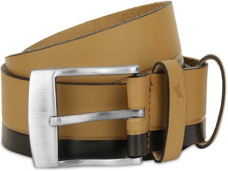 Men Casual Tan Genuine Leather Belt