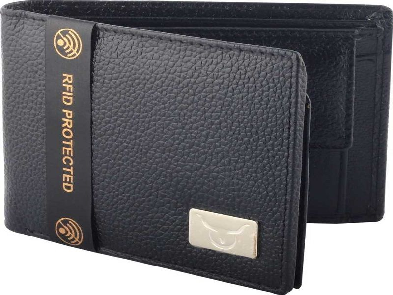 Men Casual Black Genuine Leather Wallet  (6 Card Slots)