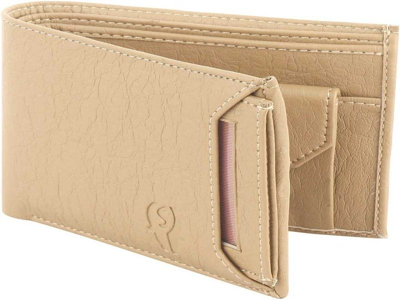 Men Casual Beige Artificial Leather Wallet  (8 Card Slots)