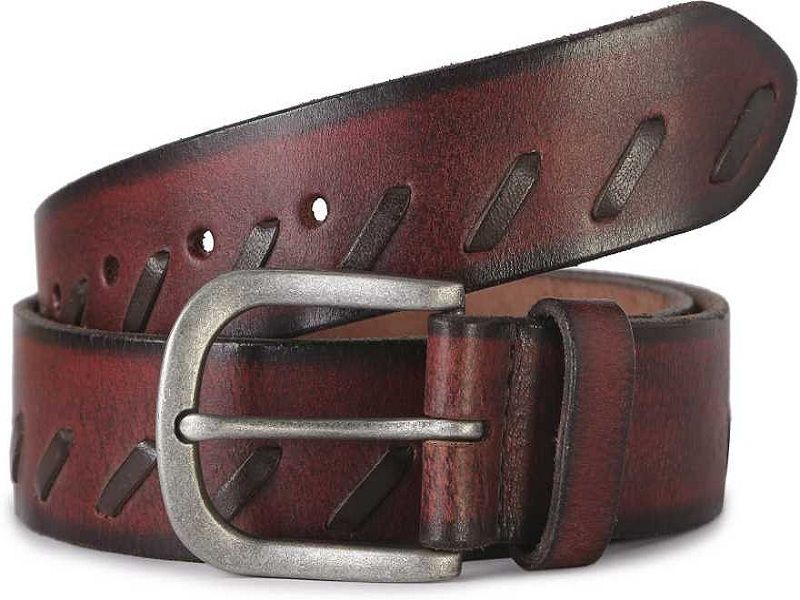 Men Casual Red Genuine Leather Belt