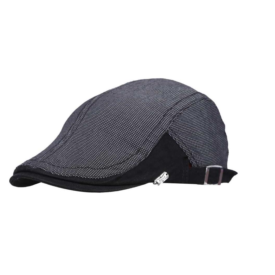 Beige 100% Cotton Golf Flat Cap with adjustable size strap Cap