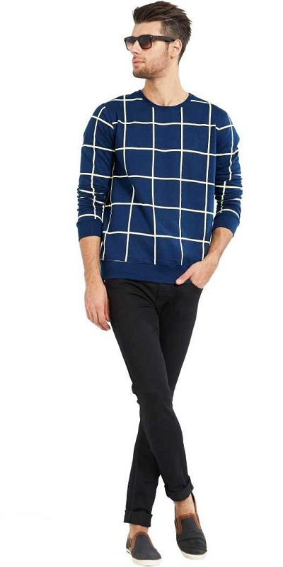 Checkered Men Round Neck Dark Blue T-Shirt