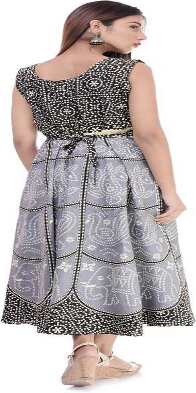Women Block Print Anarkali Kurta  (Black)