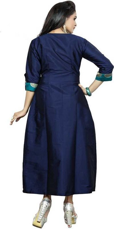 Casual Self Design Women Kurti  (Blue)