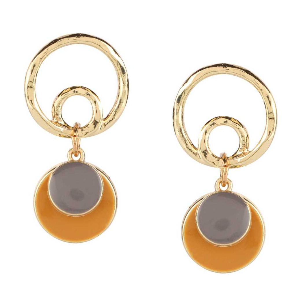 Contemporary Gold and Yellow Drop Earring Beads Metal Drops & Danglers