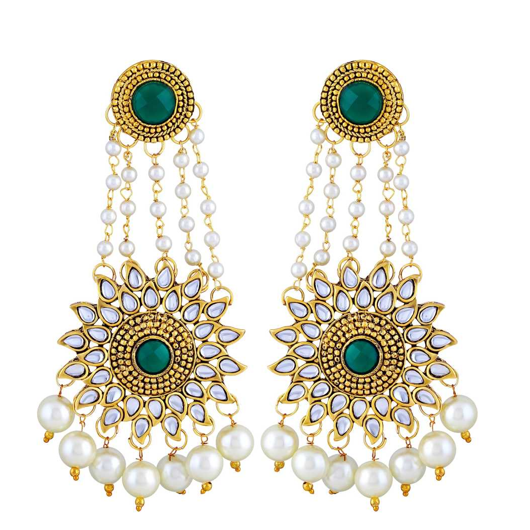 Dazzling White And Green Kundan Gold Plated Dangle Earring