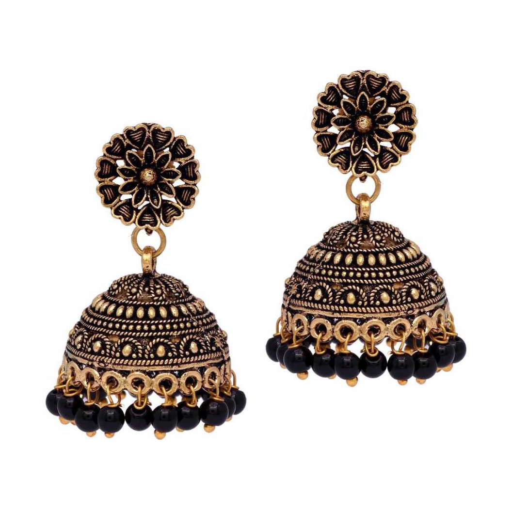 Blue Color Brass Metal Gold Plated Earrings (GSE600) Brass Jhumki Earring