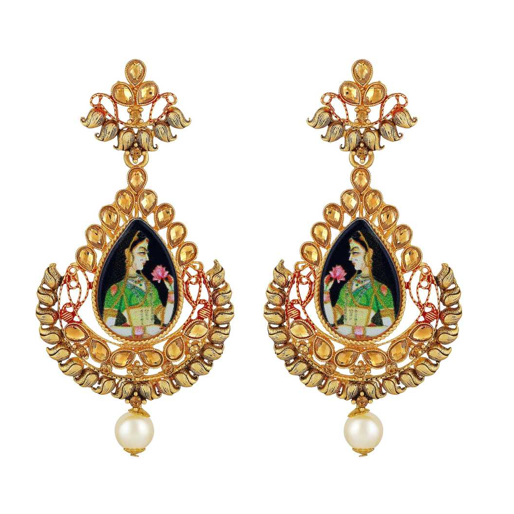 Padmaavat Styled Pear Shape LCT Stone Gold plated Dangle Earring