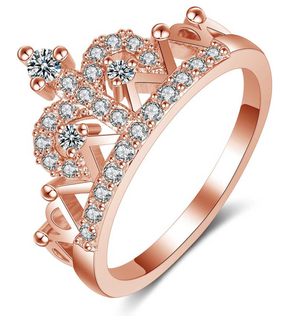 Queen Crown 18K Rose Gold Plated Designer Ring Crystal Crystal Rose Gold Plated Ring
