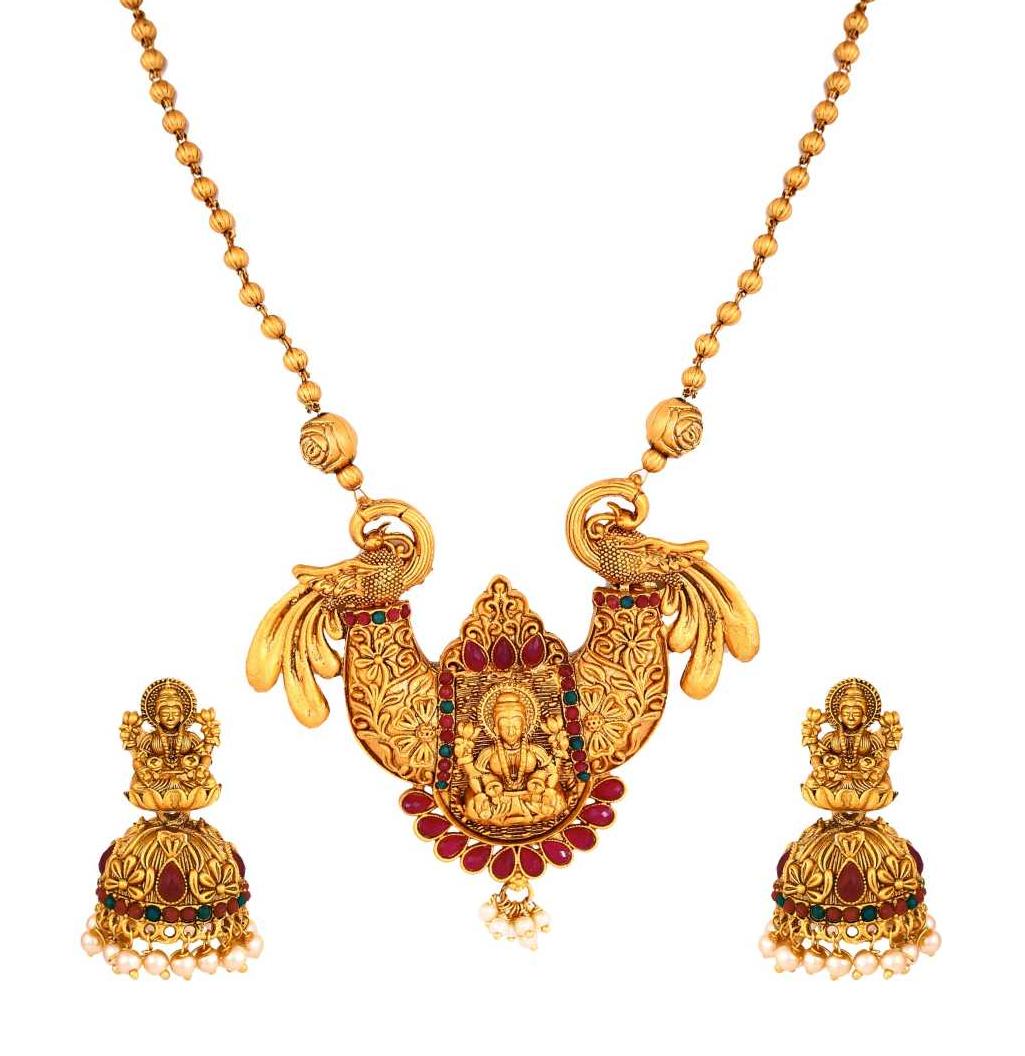 Copper, Brass, Stone Jewel Set  (Green, Pink, Gold)