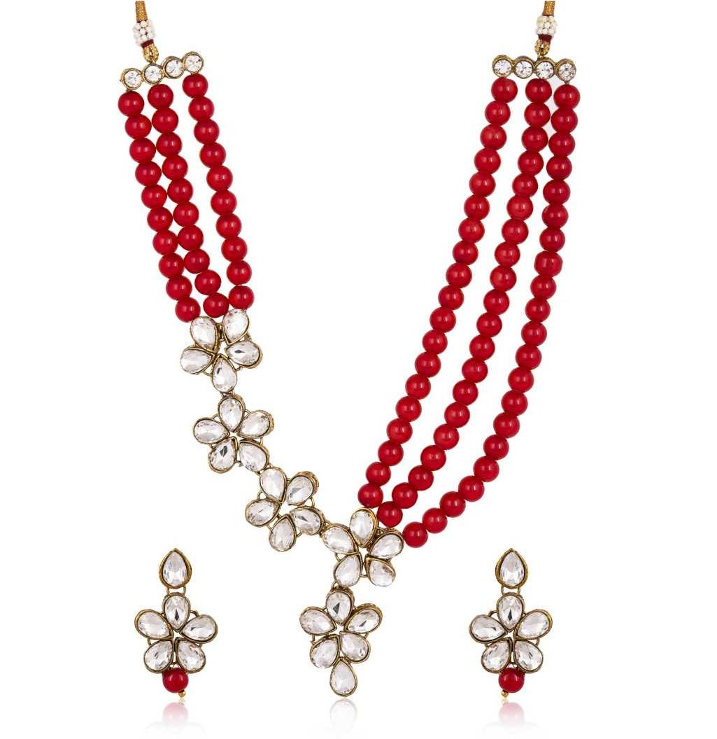 Brass Jewel Set  (Red, White)