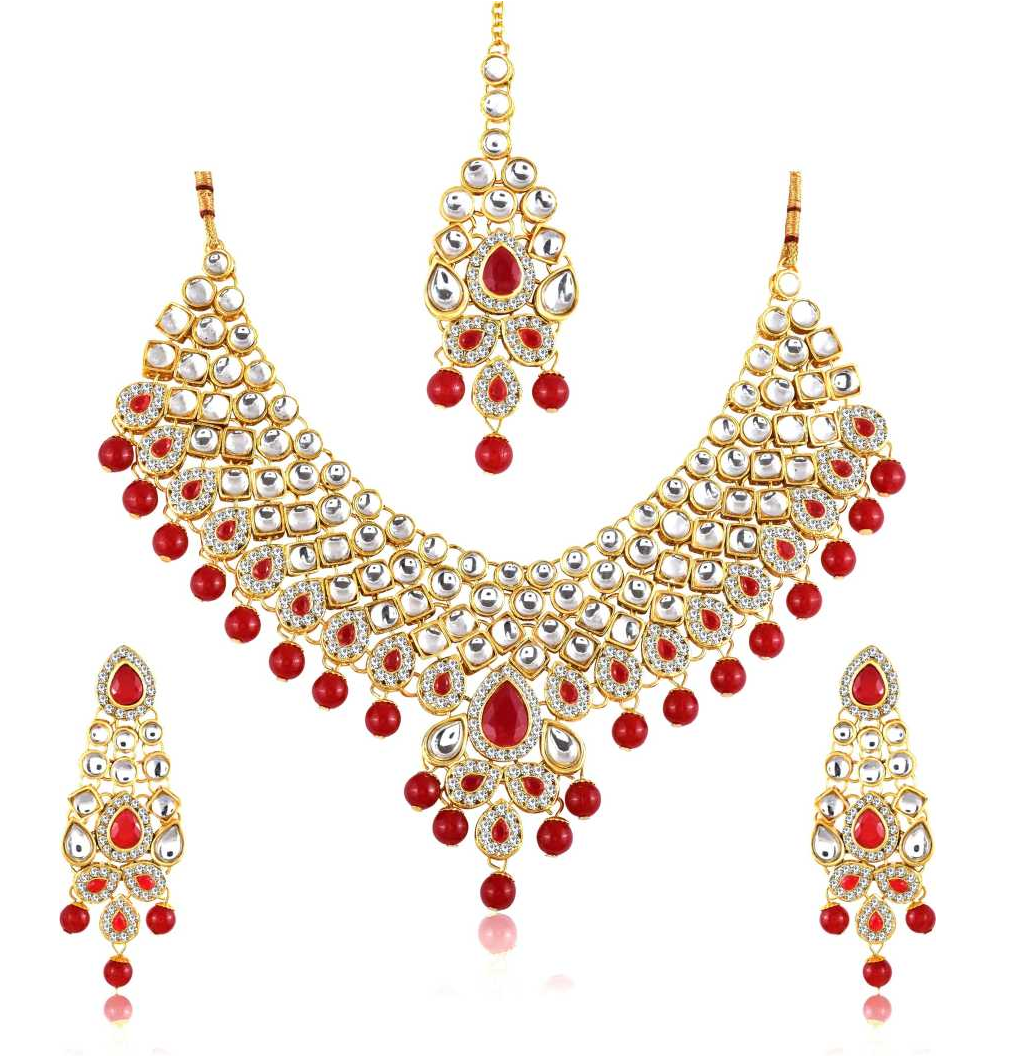 Alloy, Crystal, Stone Jewel Set  (Red)