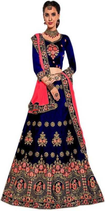 Embroidered Semi Stitched Lehenga, Choli and Dupatta Set  (Blue, Pink)