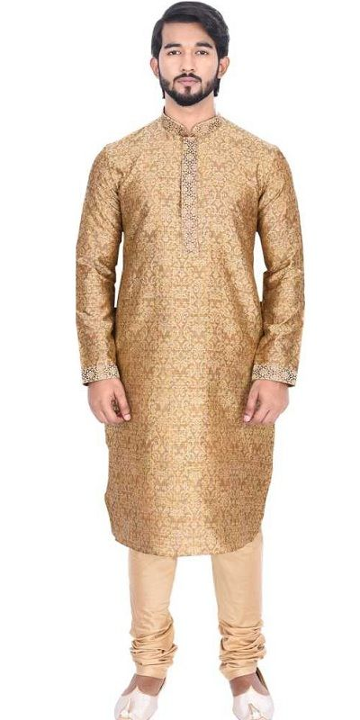 Men Kurta and Churidar Set Golden