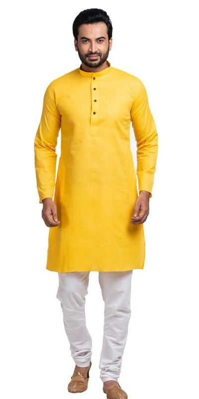 Men Solid Straight Kurta  (Yellow)