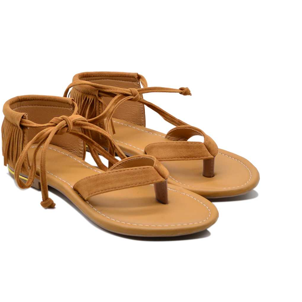 Women Tan Flats Sandal 01
