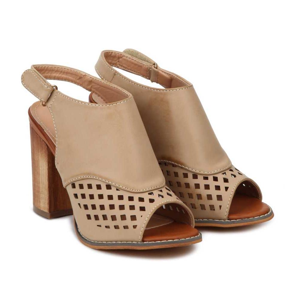 Women Beige Heels Sandal