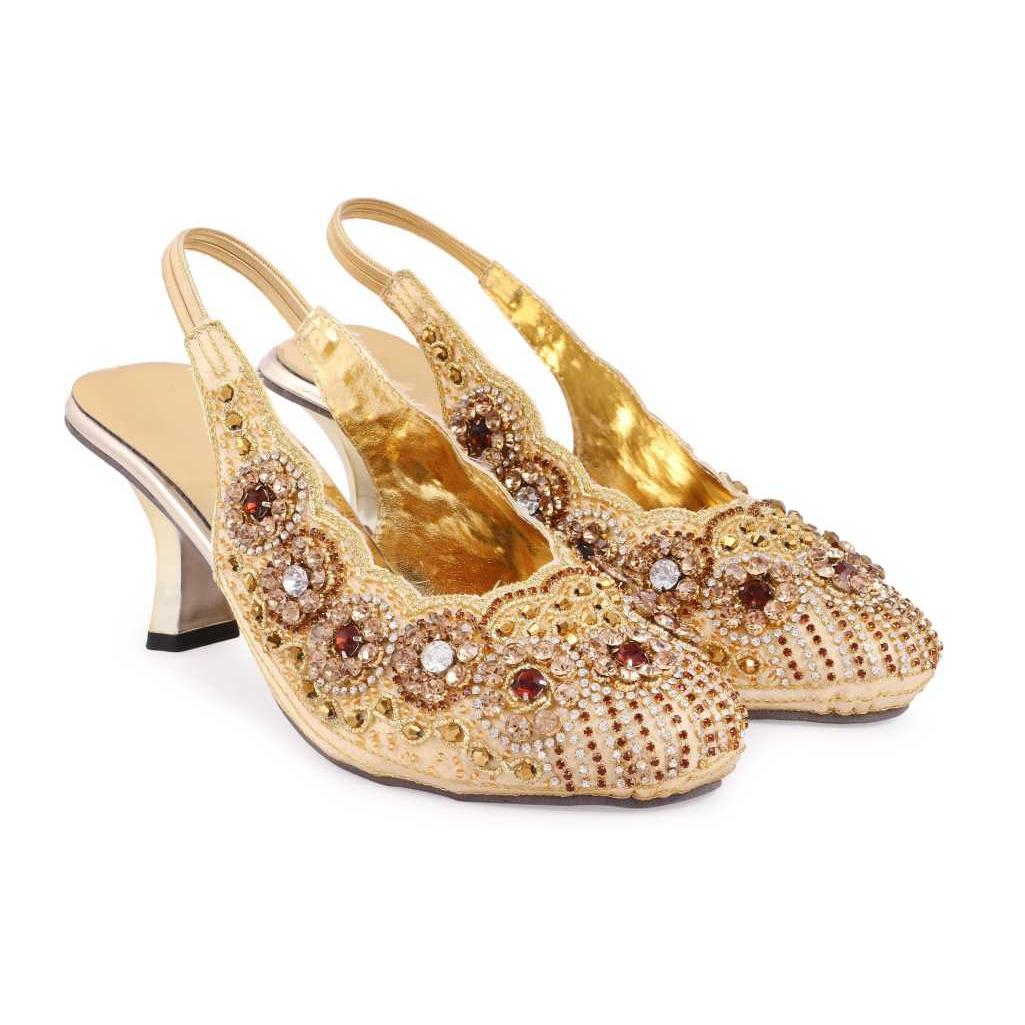 Women Gold Heels Sandal