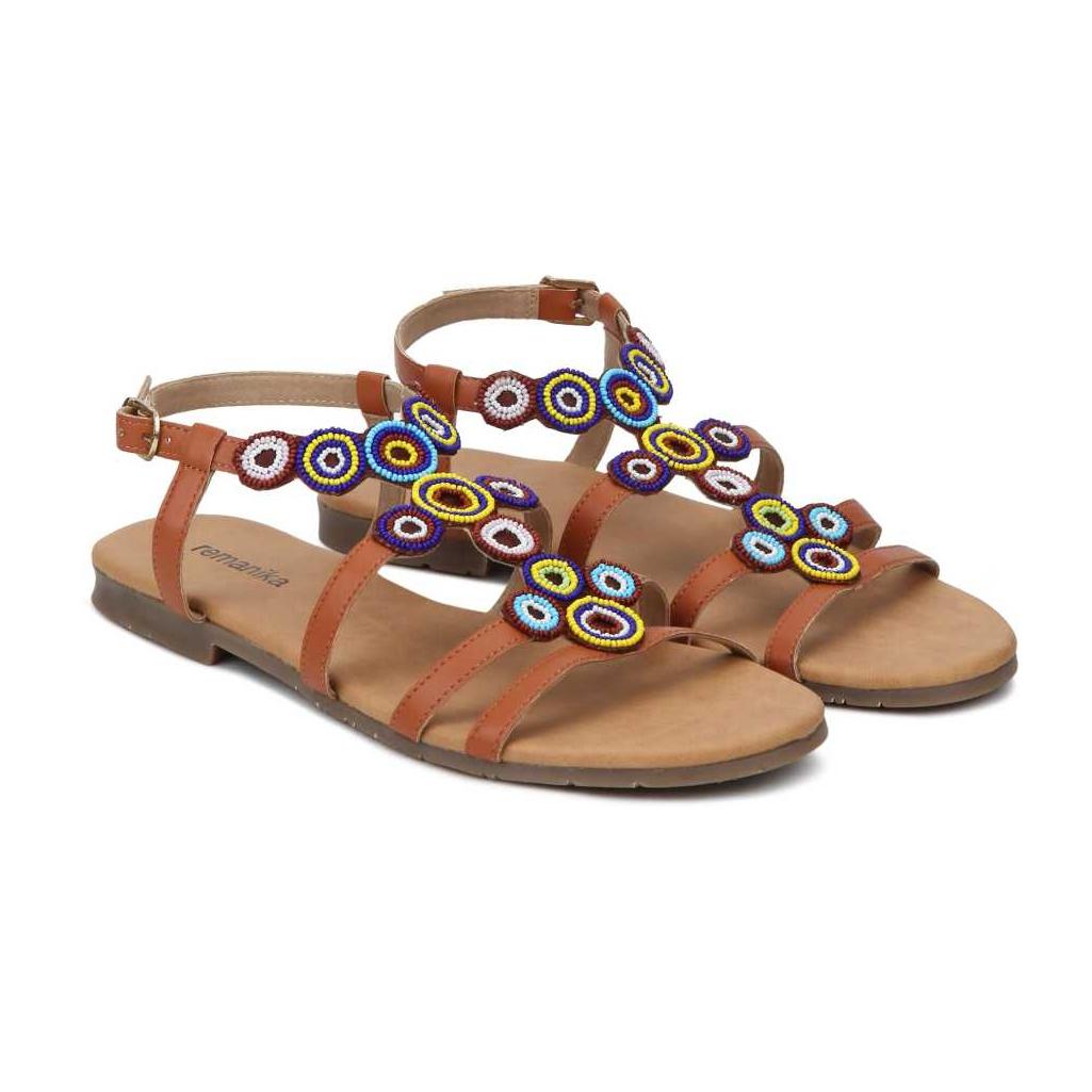 Women Tan Flats Sandal