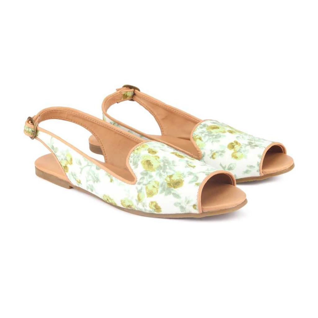 Women White, Green Flats Sandal