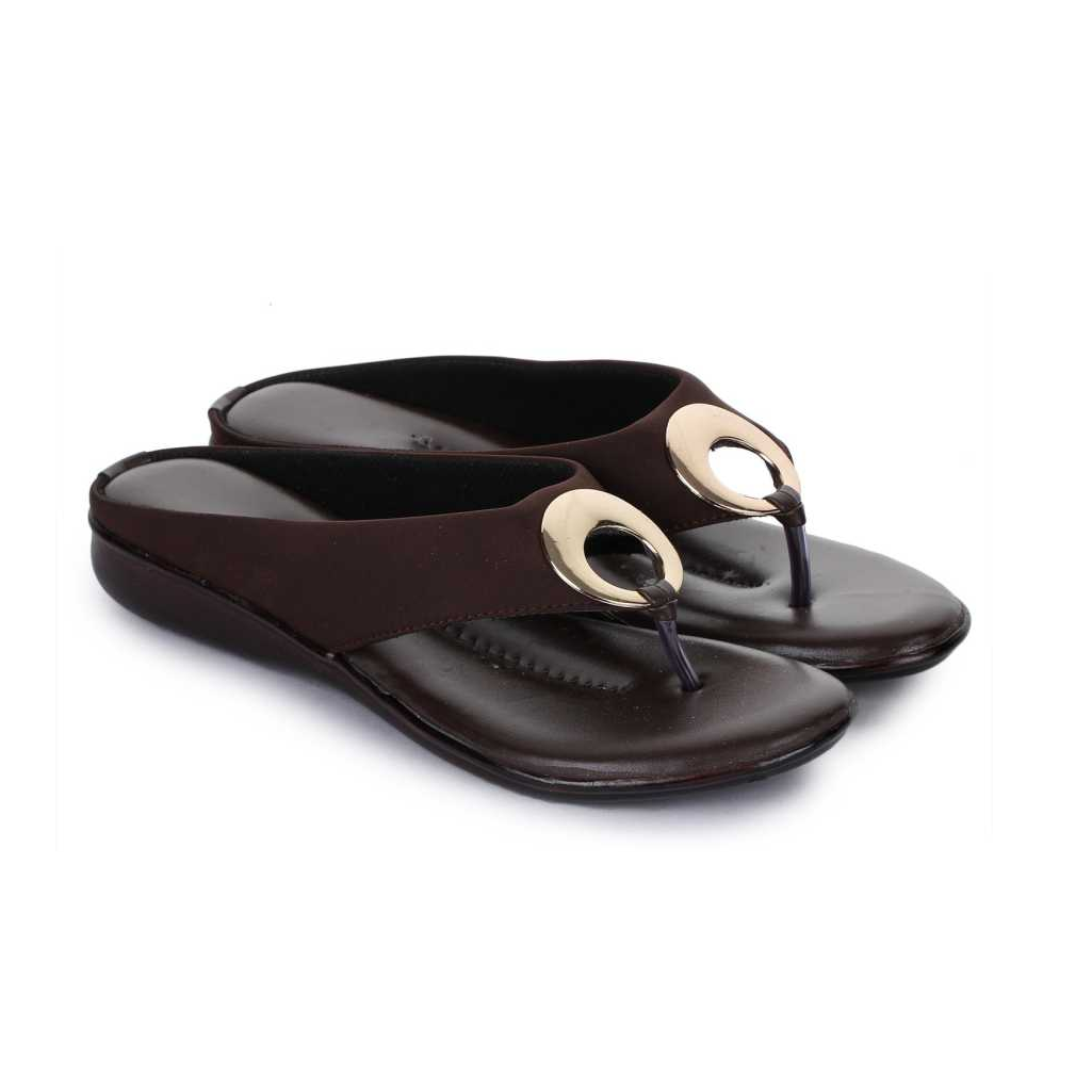 Women Brown Flats Sandals