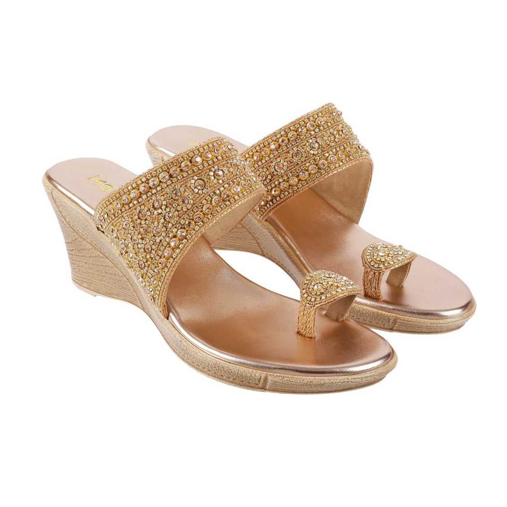 Women Gold Wedges Sandal
