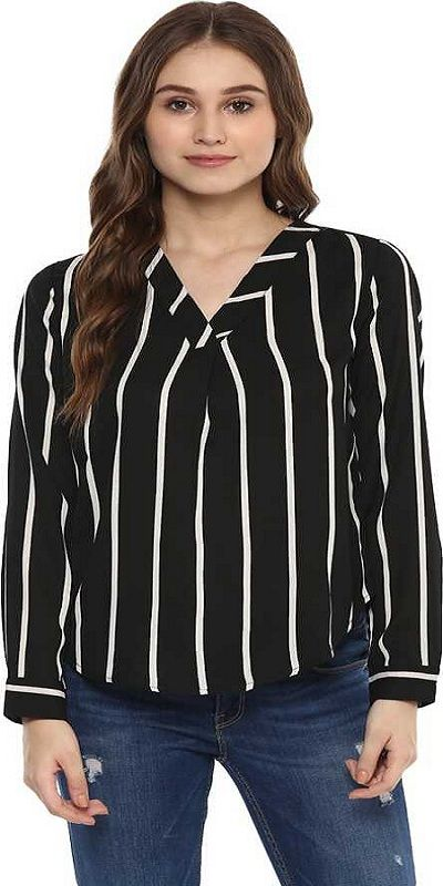 Formal Full Sleeve Striped Women Black Top