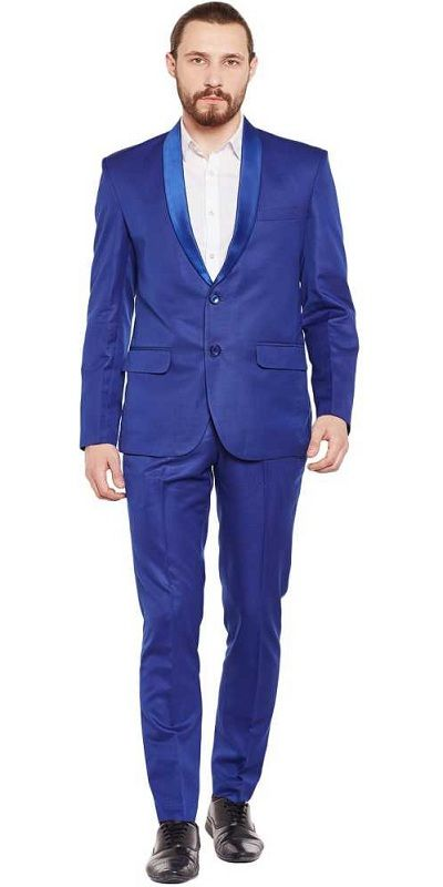 Solid Tuxedo Style Wedding Men Full Sleeve Blazer