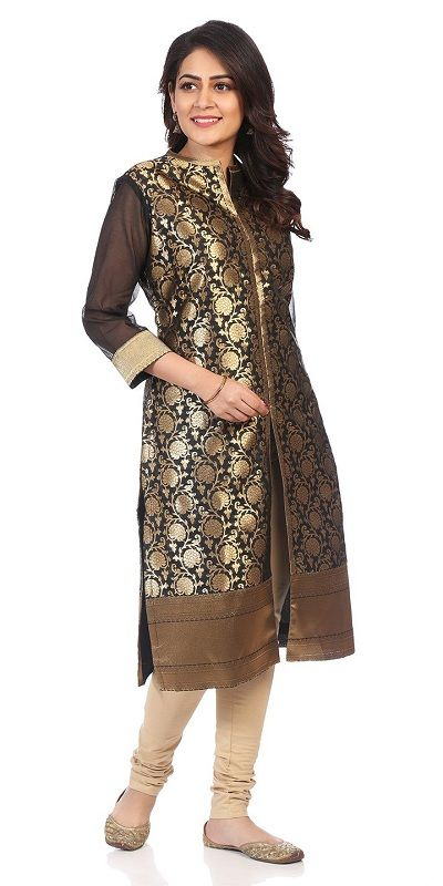 Black Poly Metallic Cotton Front Open Kurta