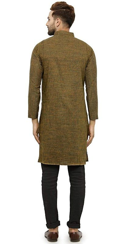 Enchanted Drapes Mens Solid Cotton Long Kurta (Mehendi, Medium)