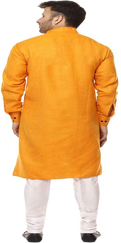 Zig Zag Yellow Chinese Collar Men Kurta
