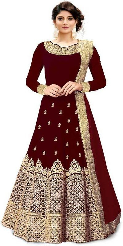 Embroidered Semi Stitched Lehenga Choli  (Maroon)
