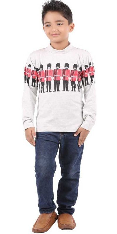 Boys Self Design Cotton Lycra Blend T Shirt  (White, Pack of 1)