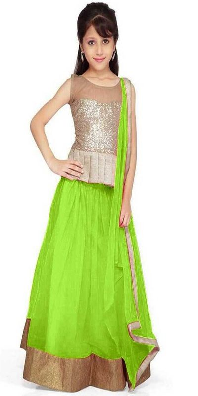 Girls Lehenga Choli Ethnic Wear Solid Lehenga, green