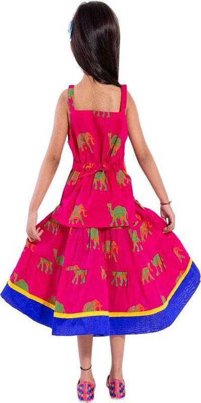 Girls Lehenga Choli Ethnic Wear Animal Print Ghagra Choli