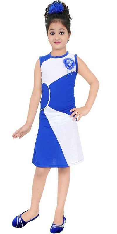Girls Midi/Knee Length Casual Dress  blue