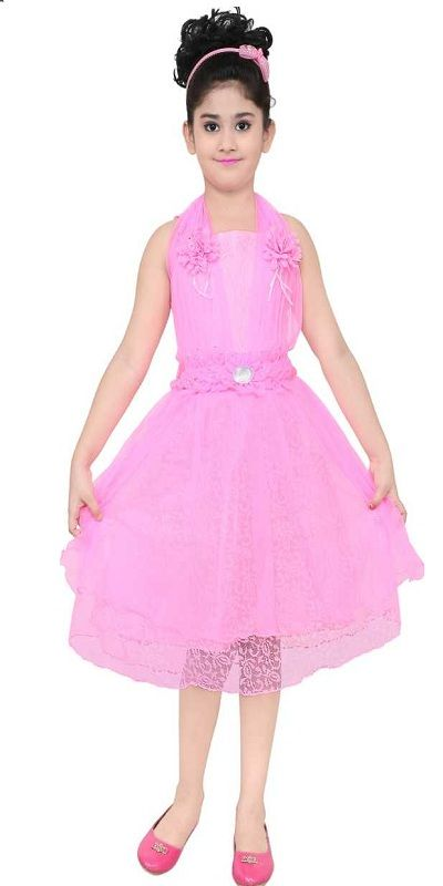 Girls Midi/Knee Length Party Dress  (Pink, Sleeveless)
