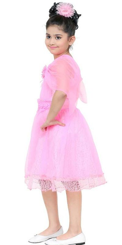 Girls Midi/Knee Length Party Dress  (Pink, Sleeveless)