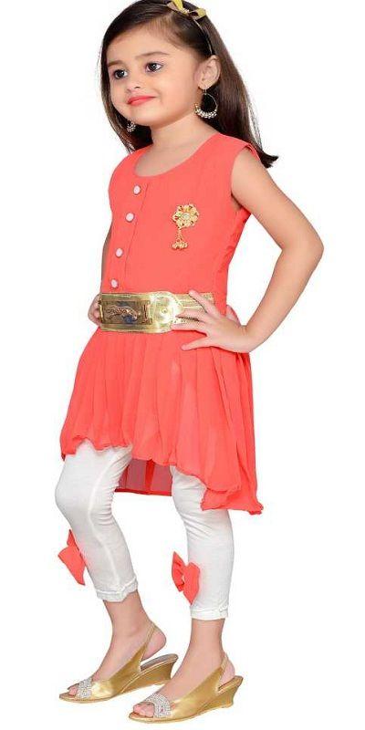 Girls Midi/Knee Length Party Dress  (Orange, Sleeveless)