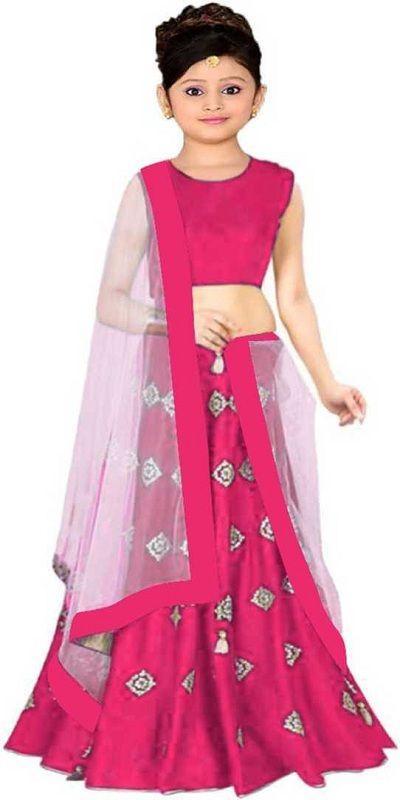 Indi Girls Lehenga Choli Ethnic Wear Embroidered Lehenga Choli