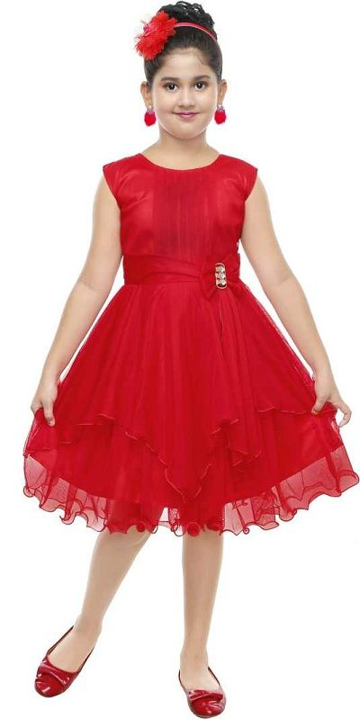 Girls Midi/Knee Length Party Dress  (Red, Sleeveless)