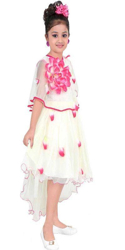 Girls Midi/Knee Length Party Dress  (White, Fashion Sleeve)