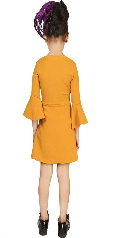 Girls Mini/Short Party Dress  (Yellow, Fashion Sleeve)