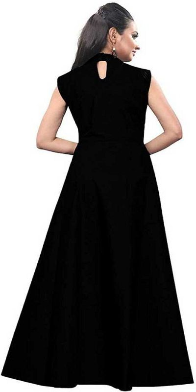 Solid Satin Blend Stitched Anarkali Gown  (Black)