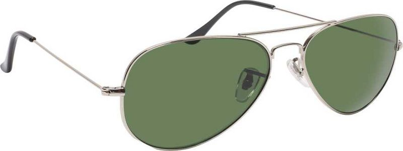 UV Protection Aviator Sunglasses (56)  (Silver, Green)