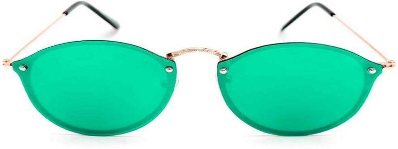 Mirrored Over-sized Sunglasses (Free Size)  (Green)