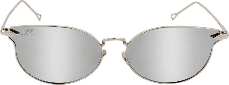 UV Protection, Mirrored Butterfly Sunglasses (55)  (Silver)